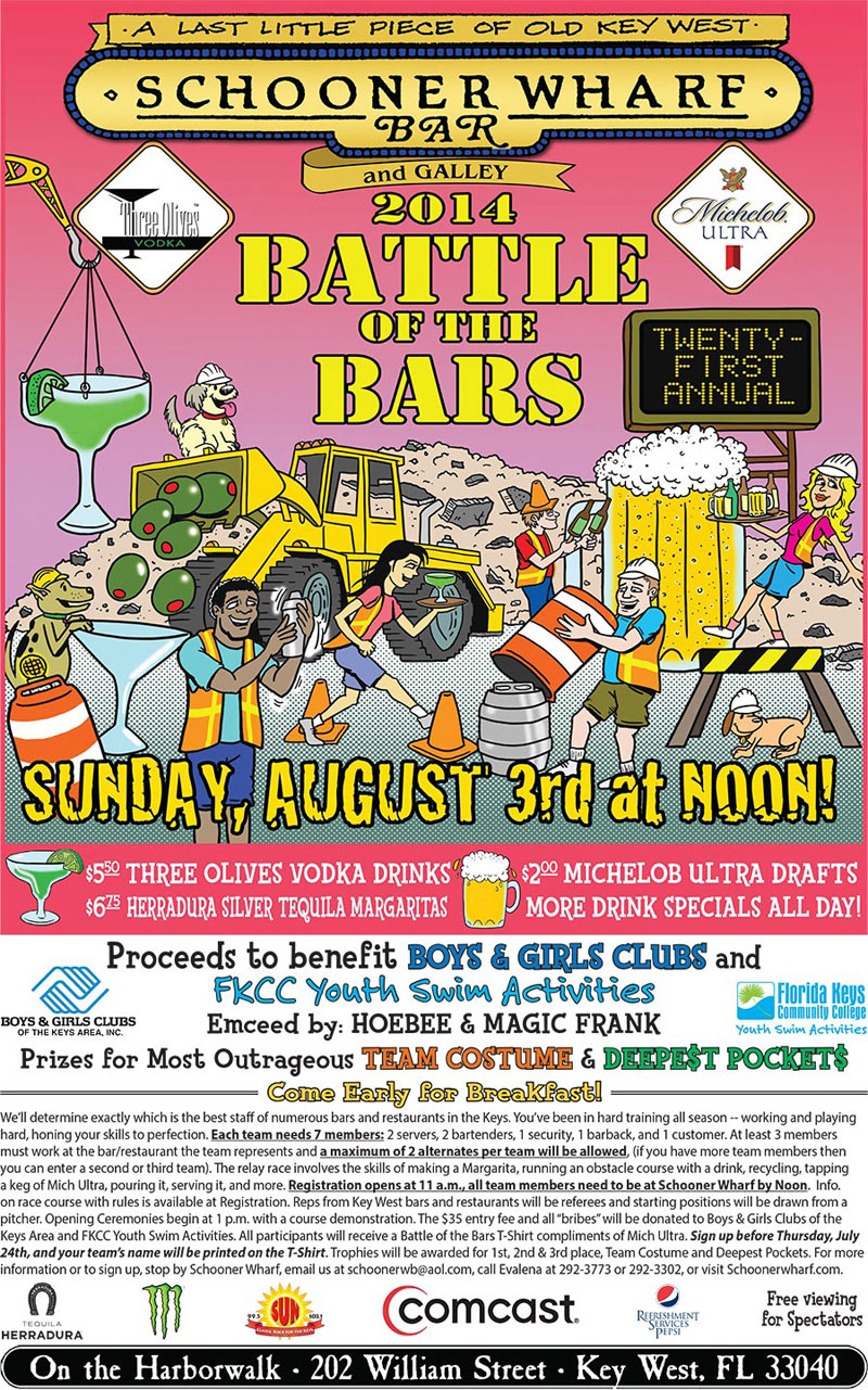 22ND ANNUAL BATTLE OF THE BARS @ Schooner Wharf Bar at KW Seaport