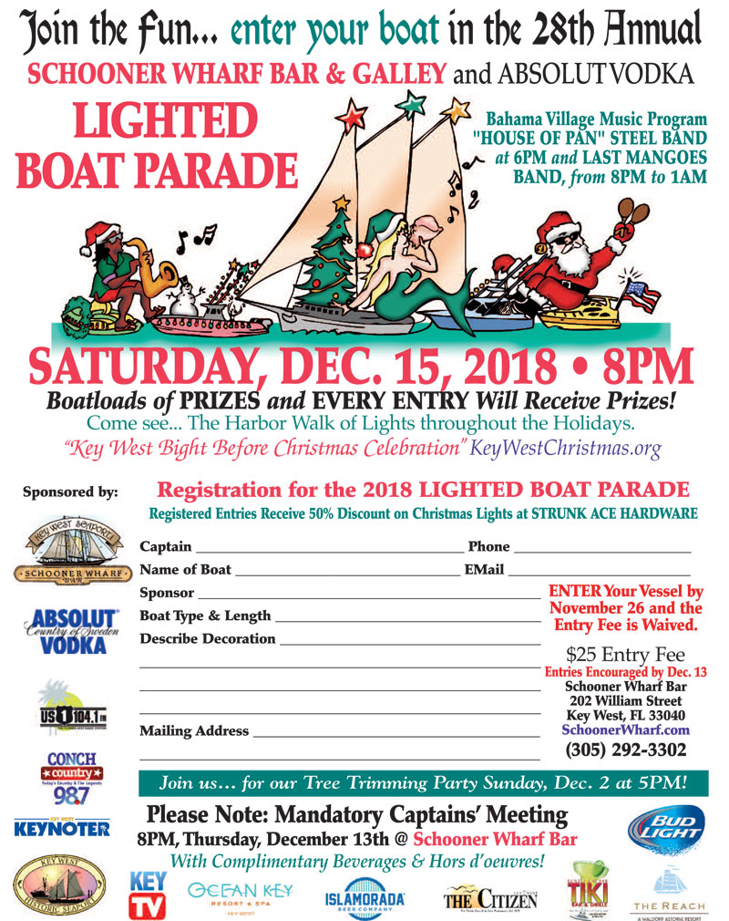 Captains' Meeting Schooner Wharf Bar & Galley Lighted Boat Parade Flyer 2018
