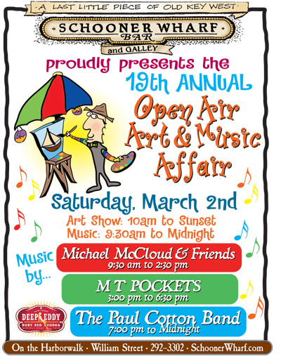 Schooner Wharf Annual Open Air Art & Music Affair 2019 Flyer
